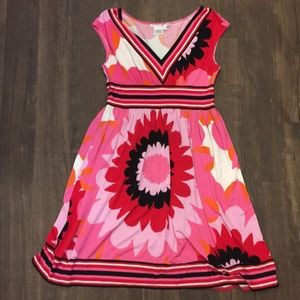Pink & red flower Maggy London 8 knit dress